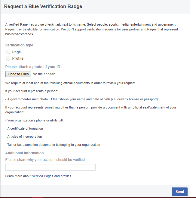 facebook verification form