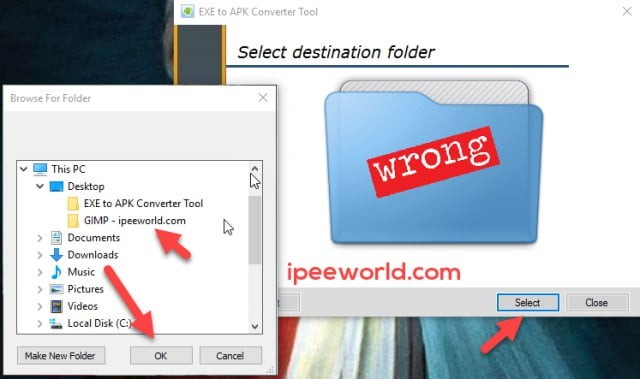 Select the EXE File To Convert APK