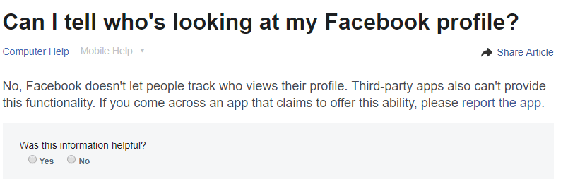 can we know facebook profile visitors