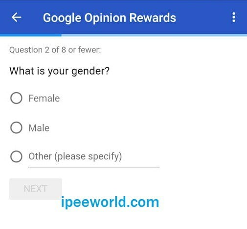 google opinion rewards quick survey