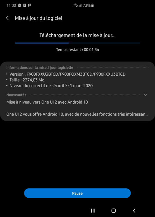 galaxy fold march 2020 android 10 update