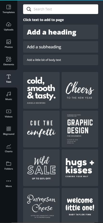 canva font options and styles