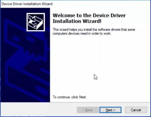 device driver installation wizard