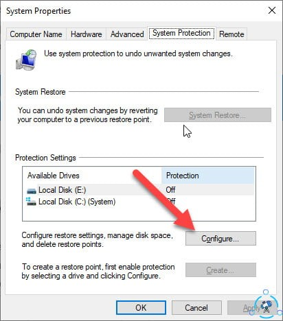 delete system restore point windows 10