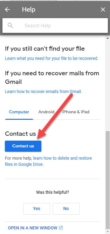 Contact google drive