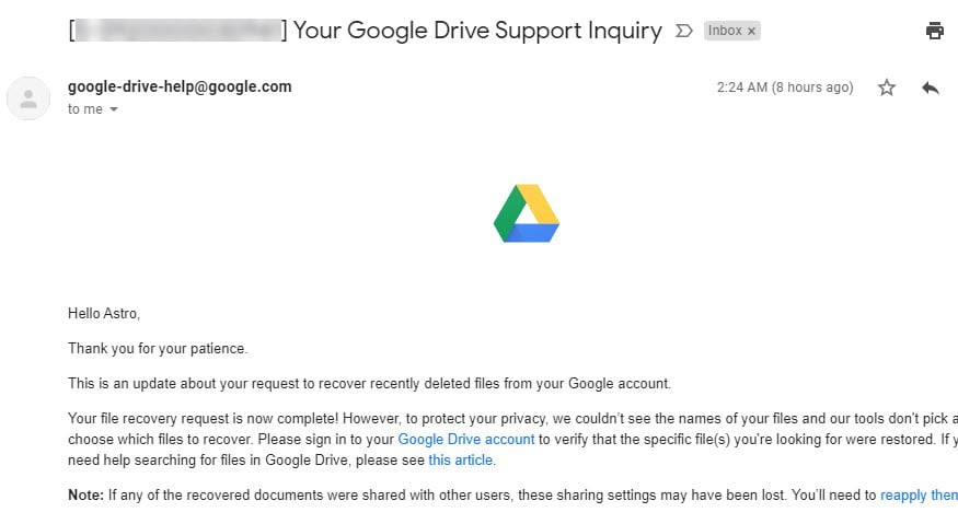 deleted google drive files recovered successfully