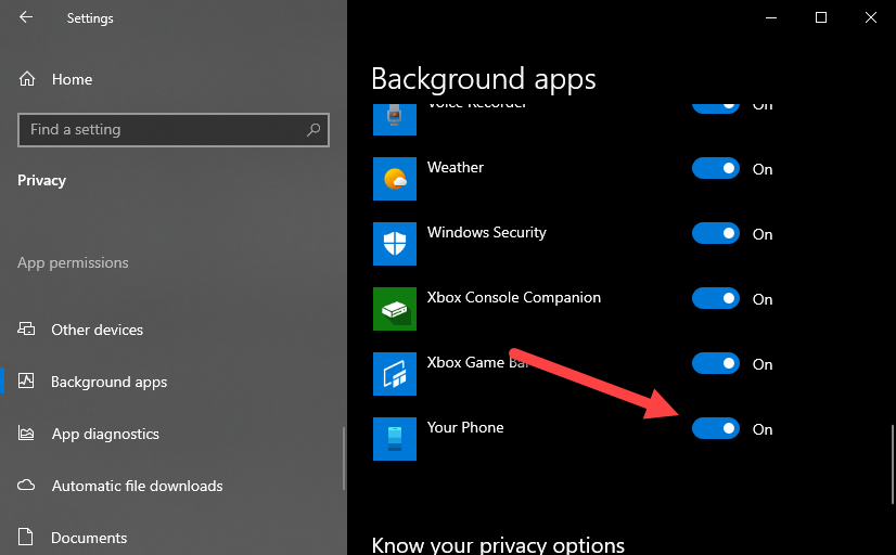 disable your phone app in windows 10