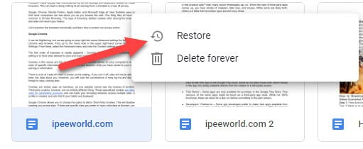 restore files from google drive trash