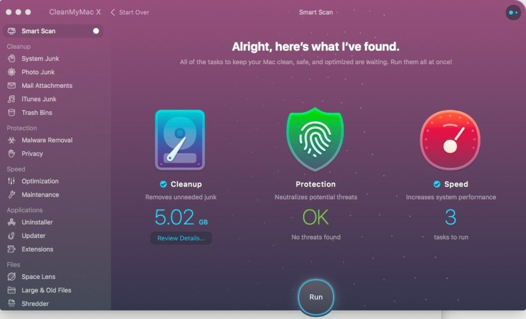 cleanmymac x smart scan result