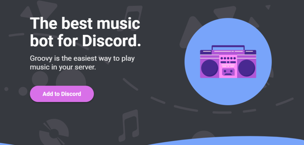 groovy music bot for discord