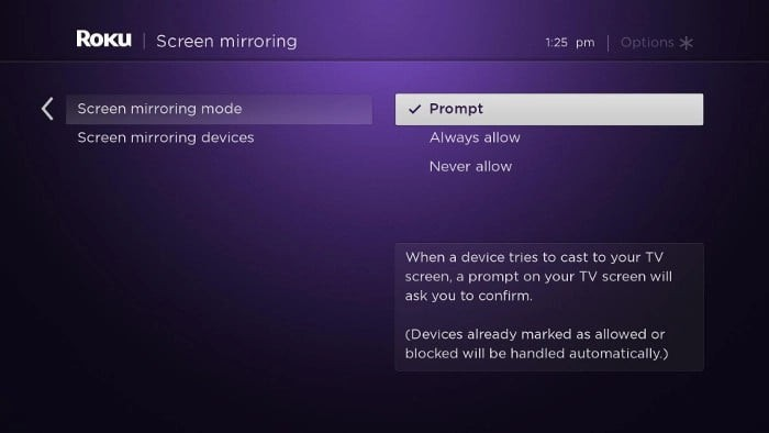 enable screen mirroring on roku