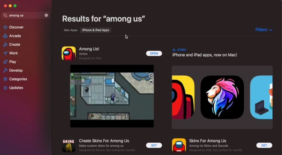search for among us app store