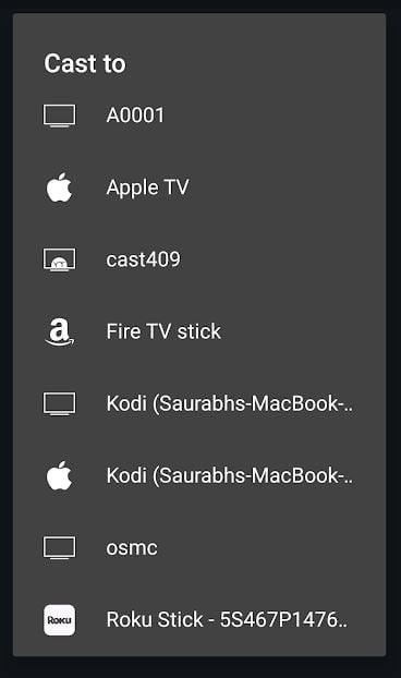 select roku to cast