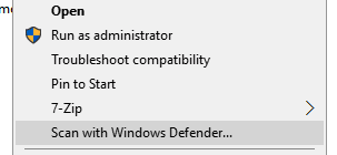 scan with windows defender