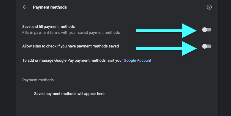 Disable Autofill Payment Methods on PC
