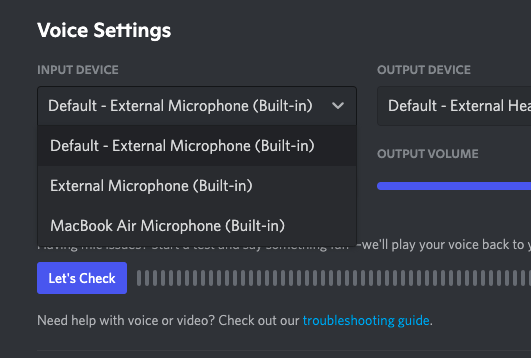 Available Input Devices on Discord