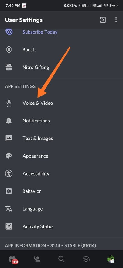 Voice & Video Settings on Discord App